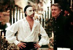 Gerard Butler and Joel Schumacher on-set of The Phantom of the Opera (2004)