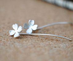 Handmade Sterling Silver Lucky Clover Long Post Earrings