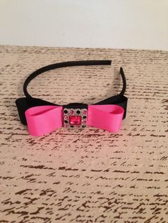 Black and bubblegum pink ribbon layered bow by DonnaBellaBows, $8.95