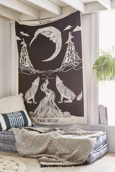 Magical Thinking Moon Tarot Tapestry - Urban Outfitters from Urban Outfitters. Saved to trip.