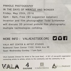 #seattle area #makers Join @the_schlem at @valaeastside to learn about his #pinhole cameras and photography  Friday! by jana_obscura