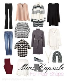 FASHION FRIDAY Capsule Wardrobe Series Pear shapes are the most common figure. They consist of a delicate, petite upper half, and a feminine, curvaceous, lower half. Creating balance is easily done…