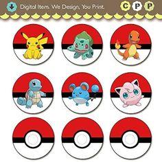 Pokemon Cupcake ToppersPrintable Digital Download