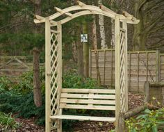 Omega Top with seat - If an arch is not enough to satisfy your needs, this variation of the successful Omega Top will definitely do! Light but comfortable, our Omega Top with seat will create a new cozy corner for you in your garden. Garden Arbor, Garden Fencing, Fence, Garden Arches, Arbour, Cozy Corner, Wakefield, Garden Furniture, Omega