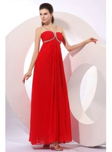Red Long Chiffon Beaded Pregnant Cocktail Dress