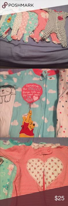 Adorable Footies Bundle of 7 footie pajamas in excellent used condition. Includes Winnie the Pooh, dancing sheep, striped with floral heart, striped with lady bug, polka dots with ballet slippers built in, pink and white hearts and elephant and friends. Super soft and all have the safety clip for zipper. Disney One Pieces Footies
