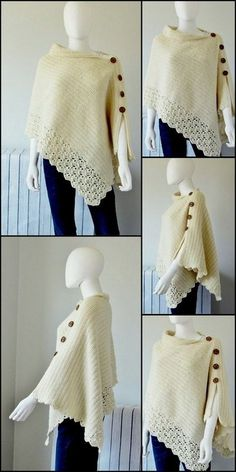 beautiful crochet poncho - All Hair Styles Crochet Shawl Free, Crochet Poncho Patterns, Crochet Shawls And Wraps, Shawl Patterns, Knit Or Crochet, Crochet Scarves, Crochet Clothes, Free Knitting, Crochet Stitches
