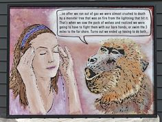 """Likely Story"" painted on wood, fully framed. We all know someone like this, eh? Folk Art Painting by Rob Johnston"