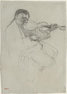 "Edgar Degas (1834–1917), The Violinist: Study for ""The Rehearsal,"" c. 1879, Charcoal with white chalk on blue-gray laid paper, 17 1/8 x 11 15/16 in. (43.5 x 30.3 cm), Sterling and Francine Clark Art Institute, Williamstown, Massachusetts, 1955.1395. Photograph by Michael Agee"