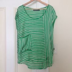 Zara Striped Top Great top. Flowing fit, silky material. Slight pulling along top (see photo) Zara Tops Tees - Short Sleeve