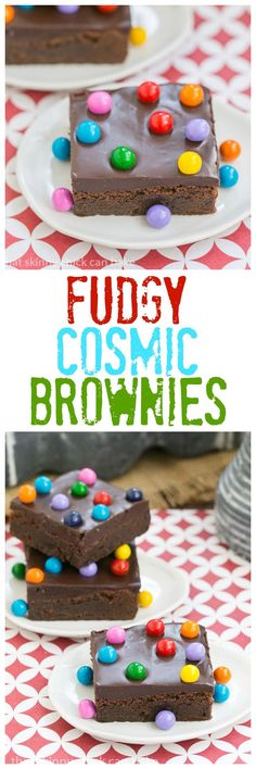Topped Cosmic Brownies - Fudgy brownies topped with ganache and chocolate filled candies!Ganache Topped Cosmic Brownies - Fudgy brownies topped with ganache and chocolate filled candies! Brownie Toppings, Brownie Bar, Brownie Recipes, Cookie Recipes, Best Dessert Recipes, Fun Desserts, Sweet Recipes, Delicious Desserts, Tasty Snacks