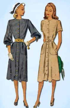 1940s Vintage McCall Sewing Pattern 6902 Misses Street Dress Size 16 34 Bust