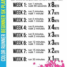 Training Plan for Beginners from The Color Run. Appropriate, since running in a Color Run is one of my first main training goals! 5k Training Plan, Mental Training, Interval Training, Strength Training, Marathon Training, Training Workouts, Training Equipment, Couch To 10k Training, Stamina Training