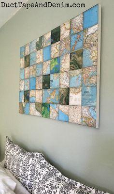 Diy Wand, Cool Wall Decor, Diy Wall Art, Mur Diy, Art Du Collage, Canvas Collage, Canvas Art, Canvas Display, Map Projects