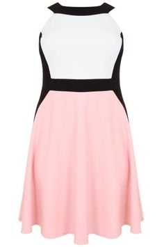 Pastel Pink, Cream & Black Colour Block Skater Dress