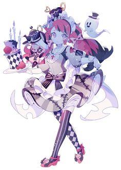 ゴーストメイドさん Art Kawaii, Manga Kawaii, Cute Kawaii Drawings, Anime Girl Drawings, Kawaii Anime Girl, Anime Art Girl, Cute Art Styles, Cartoon Art Styles, Character Inspiration