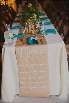 brown paper runner menu @weddingchicks