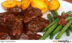 Jelení kostky na pepři z pomalého hrnce Crockpot, Steak, Bacon, Beef, Breakfast, Ethnic Recipes, Game, Diet, Meat