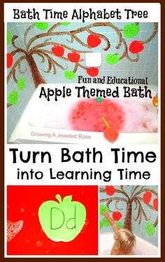 Turn bath time into learning time with this FUN and educational bath!  Complete with an apple alphabet tree and I Spy Letter game!