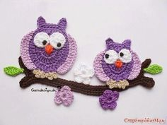 Crochet applique, 6 small crochet birds, cards, scrapbooks, appliques and embellishments Knitted Owl, Crochet Owls, Crochet Amigurumi, Crochet Motifs, Crochet Animals, Crochet For Kids, Crochet Crafts, Crochet Flowers, Crochet Projects