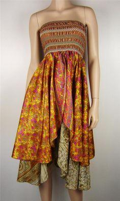 Vintage Gypsy Silk D Layer W Embroidered TOP Hippie Boho Dress Size 8 16 AU | eBay