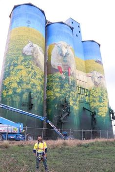 The mural, depicting a flock of sheep in red socks, pays homage to the town's beloved annual Festival of the Fleeces. The artist was David Lee Pereira of Melbourne. Murals Street Art, Graffiti Murals, Street Art Graffiti, Mural Art, Australian Painting, Australian Artists, Eyes Artwork, Water Tower, True Art