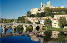 Beziers.  Along the Canal du Midi, historical town beautiful Cathedral.