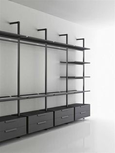 BROMPTON – designer Shelves from Boffi ✓ all information ✓ high-resolution images ✓ CADs ✓ catalogs ✓ contact ✓ find . Walk In Closet Design, Bedroom Closet Design, Wardrobe Design, Closet Designs, Etagere Design, Metal Barn Homes, Dressing Room Closet, Dressing Room Design, Boffi