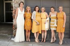 cute example of mix + match dress styles and material in the same color scheme