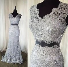 AHP095  Mermaid V-neck 2 Piece Prom Dress,Gray Lace Long Evening Dress with Sweep Train