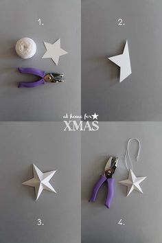 giochi di carta: Paper stars At home for XMAS Christmas Time, Christmas Crafts, Christmas Decorations, Holiday, How To Make Decorations, Star Template, Dollar Bill Origami, Origami Instructions, Origami Tutorial