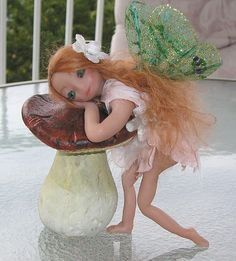 """Angel Fairy one of a kind fantasy art doll """"Shaylee"""" hand sculpted miniature polymer clay Ooak. $45.00, via Etsy."""