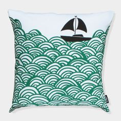 Image of Bigger Boat throw pillow 50x50cm - turquoise