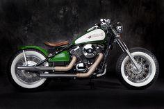 Green and White Kawasaki Vulcan 800 Bobber