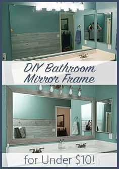 DIY Bathroom Mirror Frame Cheap Easy Do it Yourself Mirror Makeover Blue Wood Stain White Wash Bathroom Mirrors Diy, Bathroom Renos, Framed Mirrors, Bathroom Mirror Makeover, Framing A Mirror, Bathroom Small, Wood Mirror, Master Bathroom, Paint Bathroom Cabinets