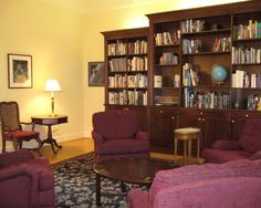 formal english library built in mahogany bookcase wall custom area carpet matches foyer - Library Built In Bookshelves