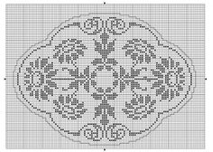 Oval 11 | Free chart for cross-stitch, filet crochet | Chart for pattern - Gráfico