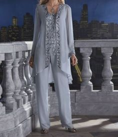 Mother Bride Groom Women's Wedding beaded dress 3PC duster pant suit plus 2X 3X #3PCpantset