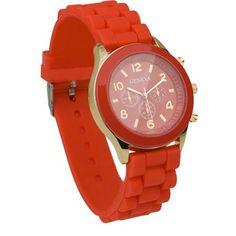 Red Unisex Silicone Quartz Analog Wrist Watch