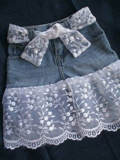 Items similar to Denim Skirt with Lace Country Summer Outdoor Wedding OOAK on Etsy Denim and Lace Toddler Skirt Blue Denim And Lace, Blue Denim, Sewing Clothes, Diy Clothes, Dress Clothes, Baby Outfits, Kids Outfits, Diy Old Jeans, Toddler Skirt