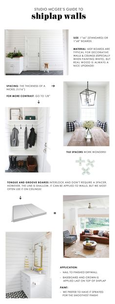 How to Get Fixer Upper Style With Shiplap: Syd and Shea McGee of Studio McGee are here with an inspired guide to help you achieve the ideal shiplap look for your home. Studio Mcgee, Web Design, Home Design, Interior Design, Fixer Upper, Design Package, Muebles Living, Plank Walls, Wood Walls