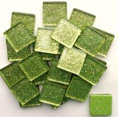 "25 3/4"" Chartreuse Apple Green Metallic Glitter Tiles/ Lime Green Glitter Glass Tiles/ Green Glass Mosaic Tiles"