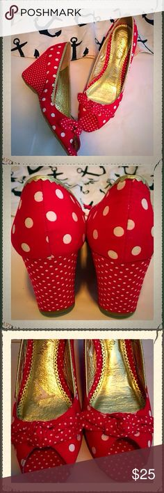 PIN UP AND POLKA DOTS SEXY SHOES Sam Eldeman wedges 3.5 inches. Worn a few times.   comfy and amazingly cute retro pin up red shoes with white polka for detail. The sole of the shoe is actually rubber like which makes it very comfortable and impossible to slip or trip in! I wouldn't be selling these babies if I hadn't recently been diagnosed with tendinitis in my foot . I absolutely adore these shoes and the cute bow detail on the front makes them pop. I wore these with my pin up dresses…