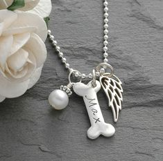 Dog Bone and Wing Necklace - pet remembrance.