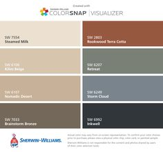 I found these colors with ColorSnap® Visualizer for iPhone by Sherwin-Williams: Steamed Milk (SW 7554), Kilim Beige (SW 6106), Nomadic Desert (SW 6107), Brainstorm Bronze (SW 7033), Rookwood Terra Cotta (SW 2803), Retreat (SW 6207), Storm Cloud (SW 6249), Inkwell (SW 6992).