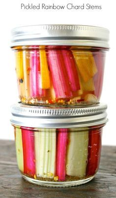Pickled Rainbow Chard Stems ~ so easy & a delicious way to save these beauties from the trash bin.