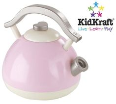 Our fantastic childrens wooden pink toy kettle is perfect for any toy kitchen or as a great role play item. This great pink toy kettle is just like the real thing and features a long curved handle for easy pouring.