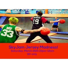 Don't forget our Jersey Madness SkyJam is happening this Saturday night 10pm-12am! Get a free pair of our Elite SkySocks when you wear your bball jersey (first come first served) a dunk and skills competition plus all the fun of regular SkyJam! It's 18 bucks and 18 plus. #skyzoneeverett #melrose #malden #medford #cambma #somerville #boston #bostonweekend by skyzoneeverett March 26 2016 at 09:49AM