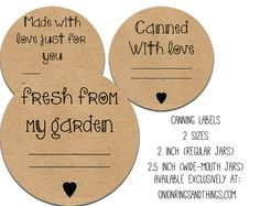 FREE Canning Label Printables Plus Video canning and preserving! The labels come in three sizes and designs perfect for gift giving! Canning Labels Free, Jar Labels, Canning Jars, Canning Recipes, Printable Labels, Free Printables, Mason Jar Crafts, Mason Jars, Jar Gifts