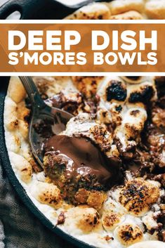 Try our Deep Dish S'Mores Bowls for Two! A graham-cracker loaded cookie base, top it with little squares of chocolate bars, piled high with marshmallows. An ooey-gooey, golden brown, melty, cookie-loaded miracle. Healthy Desserts, Just Desserts, Delicious Desserts, Dessert Recipes, Yummy Food, Kid Recipes, Fun Food, Dessert Ideas, Summer Recipes